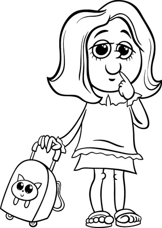 cartoon school girl: Black and White Cartoon Illustration of Primary School Student Girl with Pack for Coloring Book Illustration