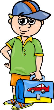 satchel: Cartoon Illustration of Elementary School Student Boy with Pack Illustration