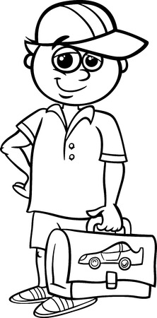 student boy: Bianco e nero fumetto illustrazione della scuola elementare Studente Ragazzo con Pack per Coloring Book Vettoriali