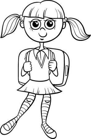 cartoon school girl: Black and White Cartoon Illustration of Elementary School Student Girl with Satchel for Coloring Book Illustration