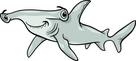 Cartoon Illustration of Hammerhead Shark Fish Sea Life Animal Vector
