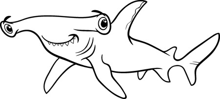 pez martillo: Negro y dibujos animados de blanco Ilustración de Hammerhead Shark Fish Sea Life Animal para Coloring Book