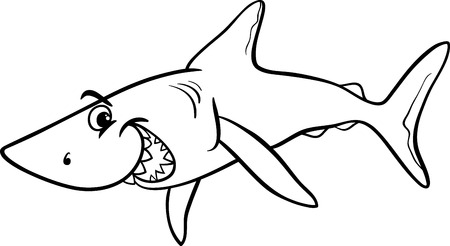 Black and White Cartoon Illustration of Shark Fish Sea Life Animal for Coloring Book