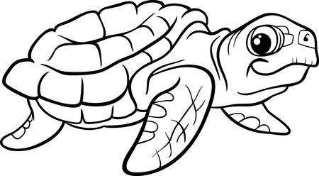 塗り絵のため海カメ爬虫類の動物の黒と白の漫画イラスト