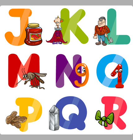 Cartoon Illustration of Funny Capital Letters Alphabet with Objects for Reading and Writing Education for Children from J to R Vector