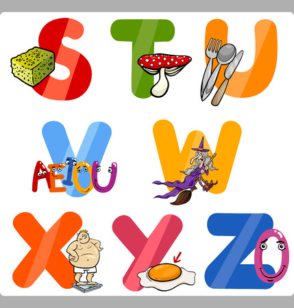 children s art: Cartoon Illustration of Funny Capital Letters Alphabet with Objects for Reading and Writing Education for Children from S to Z Illustration