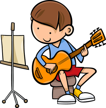 Cartoon Illustration of Cute Boy Playing on the Guitar Vector