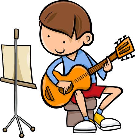Cartoon Illustration of Cute Boy Playing on the Guitar Ilustracja