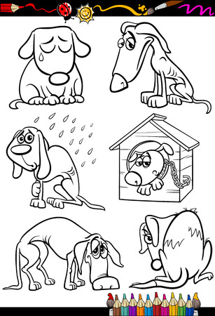 Coloring Book or Page Cartoon Illustration of Black and White Poor Sad Homeless Stray Dogs Set for Children