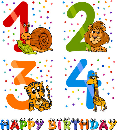 fourth birthday: Cartoon Illustration of the Happy Birthday Anniversary Designs for Boys