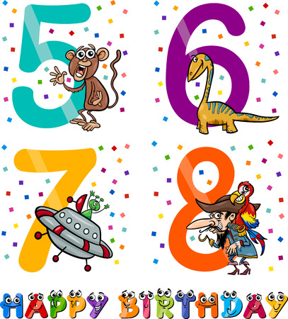 Cartoon Illustration of the Happy Birthday Anniversary Designs for Boys Vector
