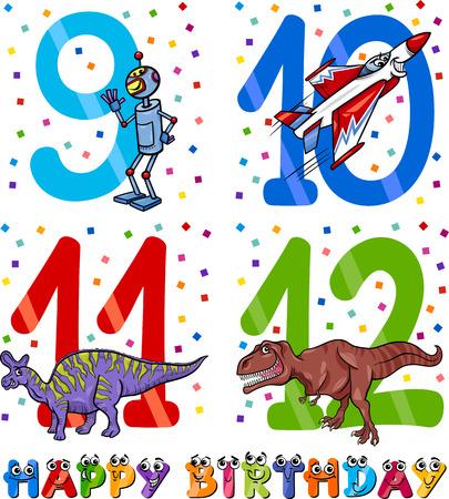 9th: Cartoon Illustration of the Happy Birthday Anniversary Designs for Boys