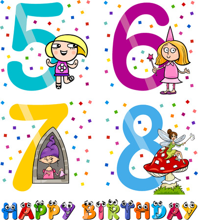 sixth birthday: Cartoon Illustration of the Happy Birthday Anniversary Designs for Girls
