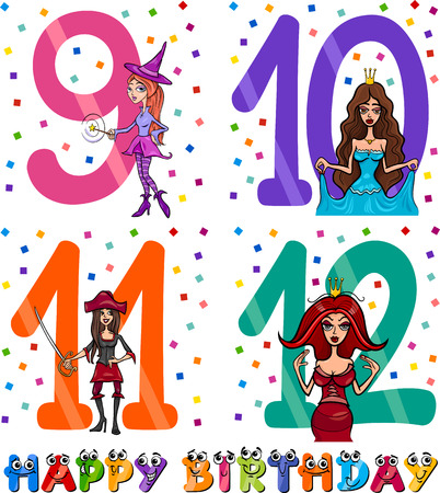 9th: Cartoon Illustration of the Happy Birthday Anniversary Designs for Girls