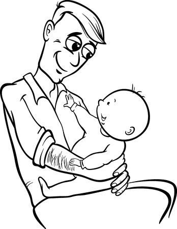 Black and White Cartoon Illustration of Father with his Cute Baby for Coloring Book Vector