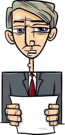 statesman: Cartoon Illustration of Man in Suit or Politician Giving a Speech Illustration