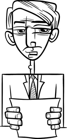 statesman: Black and White Cartoon Illustration of Man in Suit or Politician Giving a Speech for Coloring Book Illustration