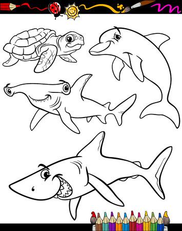 pez martillo: Coloring Book o página Ilustración de dibujos animados de color y Blanco y Negro Sea Vida Animales Juego para Niños Vectores