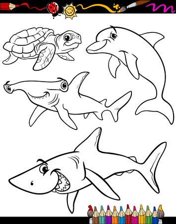 Coloring Book or Page Cartoon Illustration of Color and Black and White Sea Life Animals Set for Children