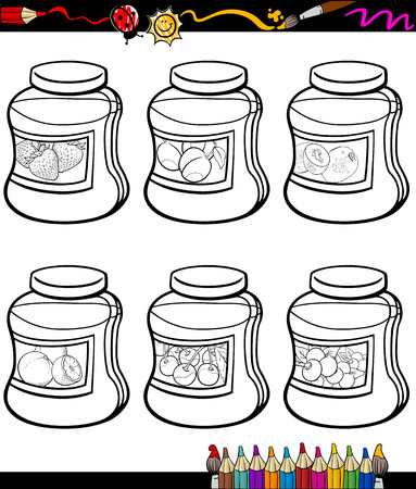 Coloring Book or Page Cartoon Illustration of Color and Black and White Fruit Jams in Jars Set for Children Vector