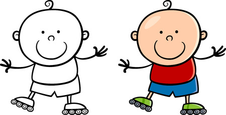 rollerblade: Cartoon Illustration of Cute Little Boy Skating on Rollers Illustration