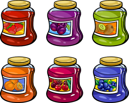 jams: Cartoon Illustration of Various Fruit Jams in Jars Set Illustration
