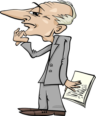 Cartoon Illustration of Thinking Man or Businessman or Scientist Caricature Vector