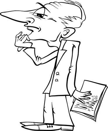 Y Ilustración Hombre Negro Divertido Dibujos Animados De Blanco HwZ64fqf