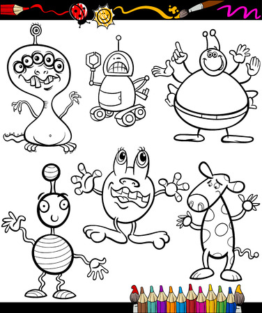 freaky: Coloring Book or Page Cartoon Illustration of Color and Black and White Fantasy or Fairy Tale Characters for Children