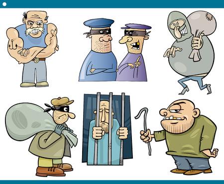 malandros: Ilustración de dibujos animados Juego de ladrones y rufianes caracteres o matones chicos malos