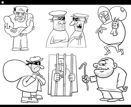 Black and White Cartoon Illustration Set of Thieves and Ruffians or Thugs Bad Guys Characters for Coloring Book