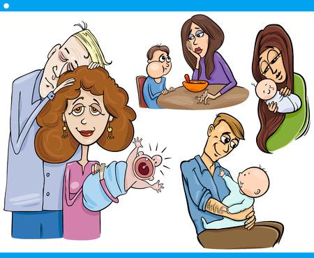 sleepy man: Cartoon Illustration Set of Parents with Children and Babies
