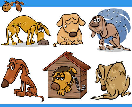 Cartoon Illustration of Poor Sad Homeless Stray Dogs Set Vector