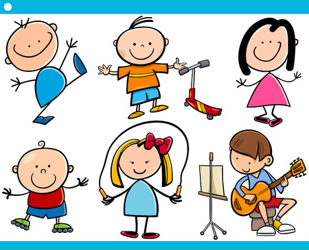Cartoon Illustration of Cute Little Boys and Girls Children Characters Set Vector