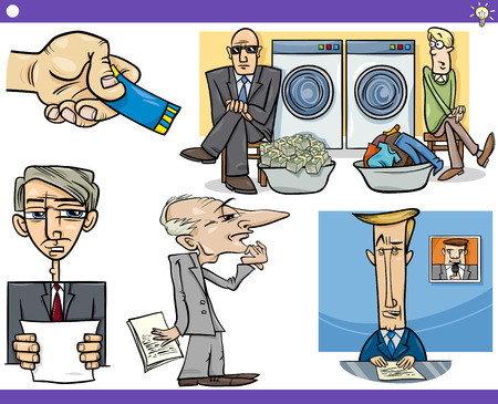 laundering: Illustration Set of Humorous Cartoon Concepts or Ideas and Metaphors with Funny Characters