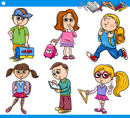 knapsack: Cartoon Illustration of Primary School Students or Pupils Boys and Girls Children Characters Set