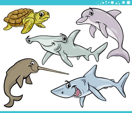 shark cartoon: Cartoon Illustration of Sea Life Animals Set Illustration