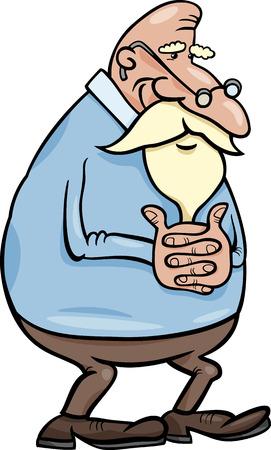 elder: Cartoon Illustration of Elder Man Senior or Grandfather Illustration
