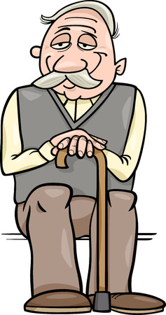 smiling man: Cartoon Illustration of Elder Man Senior or Grandfather with Cane