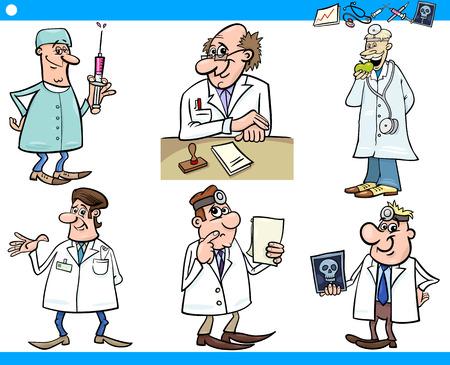 dr: Cartoon Illustration of Funny Medical Staff Doctors Characters Set