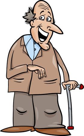 elder: Cartoon Illustration of Elder Man Senior or Grandfather with Cane