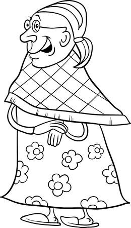 elder: Black and White Cartoon Illustration of Elder Woman Senior or Grandmother for Coloring Book Illustration