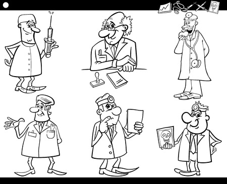 consulting room: Black and White Cartoon Illustration of Funny Medical Staff Doctors Characters Set for Coloring Book