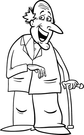 old man smiling: Black and White Cartoon Illustration of Elder Man Senior or Grandfather with Cane for Coloring Book Illustration