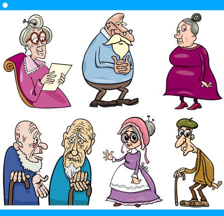 damas antiguas: Ilustración de dibujos animados Conjunto de Hombres Mayores y Personas Mayores Mujeres