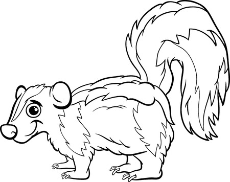 Black and White Cartoon Illustration of Cute Skunk Animal for Coloring Book Vector