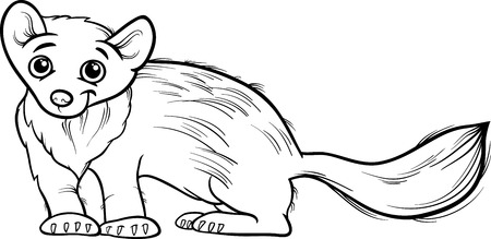 marten: Black and White Cartoon Illustration of Cute Marten Animal for Coloring Book