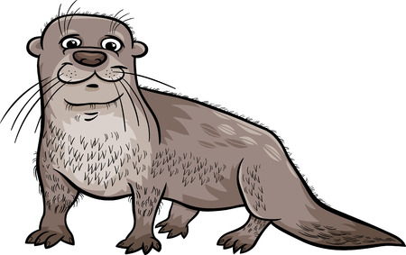 Cartoon Illustration of Cute Otter Animal Vector