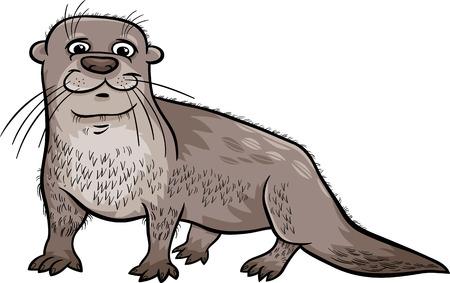 Cartoon Illustration of Cute Otter Animal Illustration