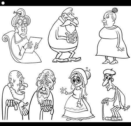 elder: Black and White Cartoon Illustration Set of Elder Men and Women Seniors for Coloring Book